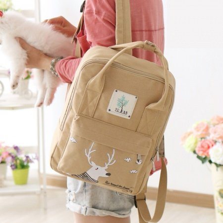 Khaki Brown Canvas Sewing Pattern Junior Preppy School Book Bag Cute Animal Christmas Deer Casual Travel Hiking 13 Inch Laptop Backpack