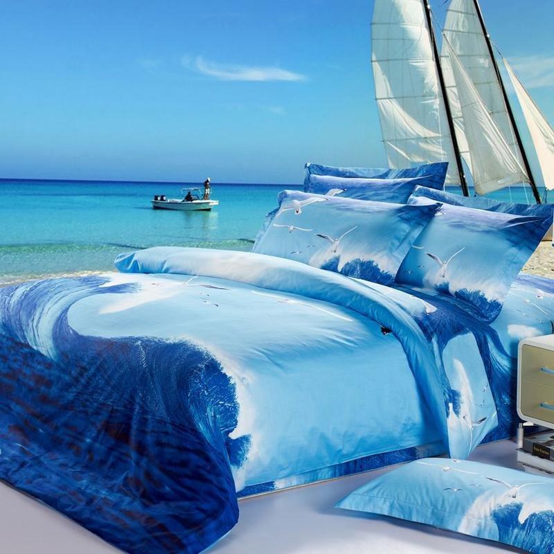 Ocean Blue And Sky Blue Ocean Waves Scene Sea Gull Bird