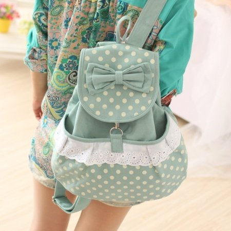 Durable Stylish Canvas Ruffle Lace Bow Girls Travel School Flap Drawstring Backpack Sage Green White Polka Dot Cute Preppy Book Bag