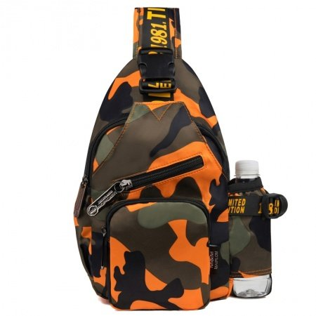 Personalized Flame Orange Coffee Military Camouflage Women Crossbody Chest Bag Stylish Durable Oxford Casual Hiking Travel Sling Backpack