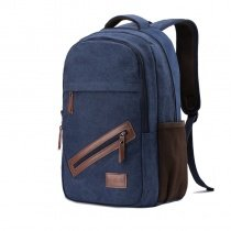 Durable Denim Blue Canvas with Leather Trim Boys Preppy School Book Bag Trend Simply Chic Casual Cycling Hiking Travel Laptop Backpack