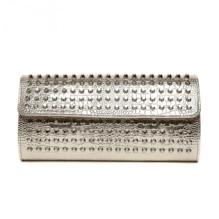 Metallic Gold Patent Leather Rivet Studded Lady Evening Party Clutch Personalized Embossed Crocodile Small Flap Crossbody Shoulder Bag