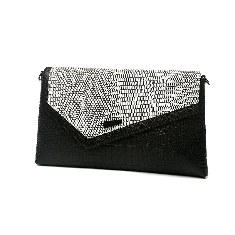 Durable Black White Genuine Cowhide Leather Flap Envelope Evening Party Clutch Embossed Alligator Small Hard Shell Crossbody Shoulder Bag