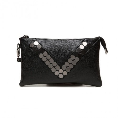Stylish Black Genuine Cowhide Leather Envelope Evening Party Clutch Personalized Rivet Studded Lady Small Crossbody Shoulder Bag