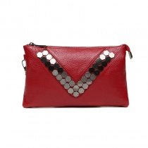 Stylish Wine Red Genuine Cowhide Leather Envelope Evening Party Clutch Personalized Rivet Studded Lady Small Crossbody Shoulder Bag