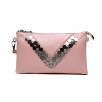Stylish Pink Genuine Cowhide Leather Envelope Evening Party Clutch Personalized Rivet Studded Lady Small Crossbody Shoulder Bag