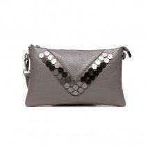 Stylish Taupe Gray Genuine Cowhide Leather Envelope Evening Party Clutch Personalized Rivet Studded Lady Small Crossbody Shoulder Bag