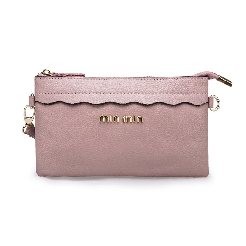 Dark Pink Cowhide Leather Girls Evening Clutch Wallet Vogue Sequined Small Coin Purse Gorgeous Casual Party Crossbody Shoulder Bag