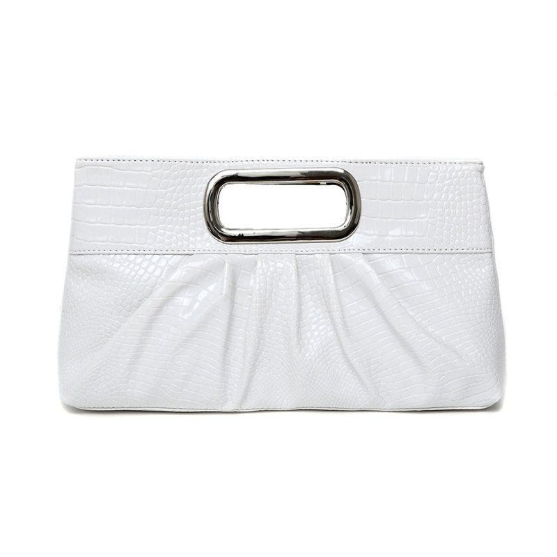 Vintage Elegant White Patent Leather Embossed Crocodile Casual Party Evening Clutch Stylish Ruched Sewing Pattern Women Tote Bag