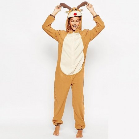 Elk Deer Moose 100% Polyester Onesies Jumpsuit Romper Cosplay Costumes Christmas Pajamas for Women Girls XS S M L XL XXL