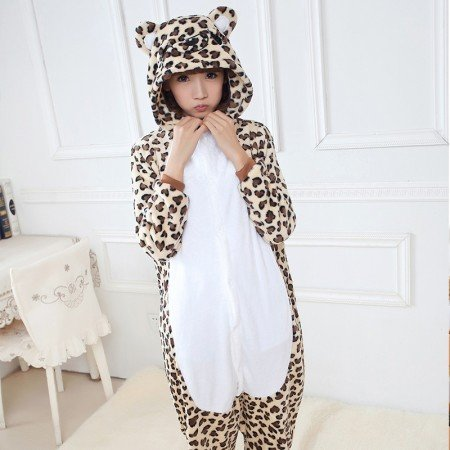 Leopard Onesies 100% Polyester Cartoon Animal Hooded Tail Unisex Adults Cosplay Jumpsuit Costumes Winter Pajamas