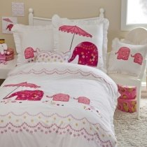Girls Pink and White Elephant Print Modern Chic Cute Girly Themed Embroidered Design 100% Cotton Twin, Full Size Bedding Sets