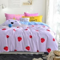 Red and White Fruit Strawberry Print Funky Style Shabby Chic Personalized 100% Cotton Twin, Full, Queen Size Bedding Sets