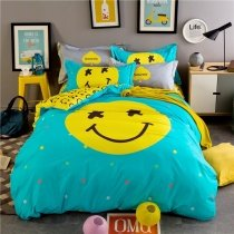 Turquoise and Lemon Yellow Smiley Face Print Cute Design Modern Chic Cartoon Themed 100% Brushed Cotton Twin, Full, Queen Size Bedding Sets