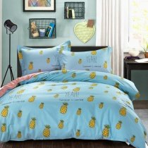 Sky Blue Yellow and Green Fruit Pineapple Print Rustic Style Shabby Chic Unique 100% Cotton Twin, Full Size Bedding Sets