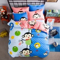 Blue Black Green and Yellow Bright Colorful Monkey Print Hiccups Themed Reversible 100% Cotton Twin, Full Size Bedding Sets