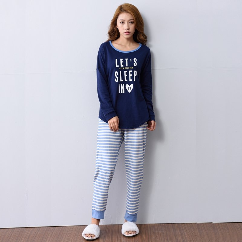 Let's Sleep in Blue Shirt and Striped Long Pants Fashion Personalized Pajamas for Girls Lady