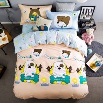 Turquoise Yellow Coffee and Light Pink Dog Print Pet Animal Funky and Cute Style 100% Cotton Twin, Full Size Bedding Sets