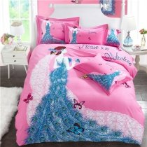 Peacock Blue Rose Pink and White Butterfly Princess Cute Style Modern Girls 100% Brushed Cotton Full, Queen Size Bedding Sets