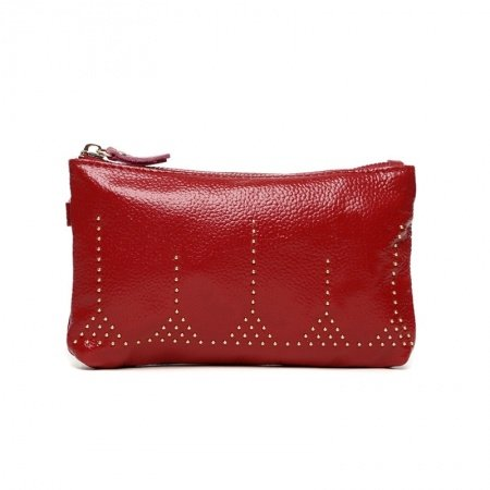 Garnet Red Distressed Genuine Cowhide Leather Women Evening Clutch Wallet Durable Rivet Studded Casual Party Small Coin Purse Wristlet