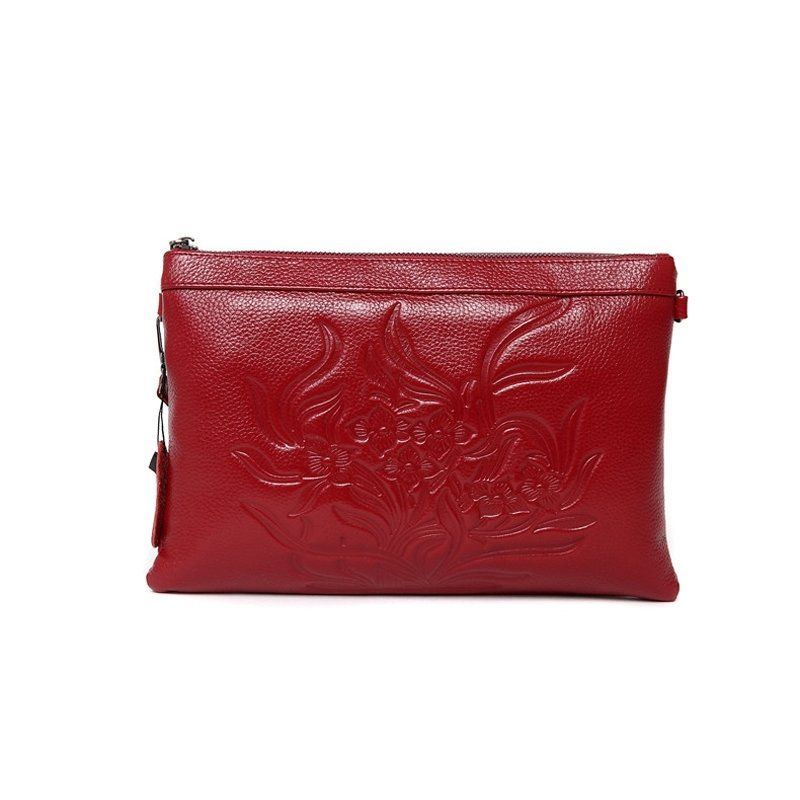 Durable Dark Red Genuine Cowhide Leather Lady Evening Party Clutch Wristlet Vintage Engraved Flower Sewing Pattern Crossbody Shoulder Bag