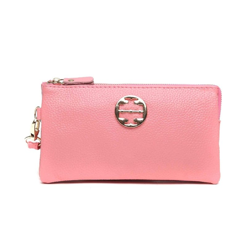 Durable Pink Genuine Cowhide Leather Girls Casual Party Evening Clutch Wallet Gorgeous Sewing Pattern Sequin Small Coin Purse Wristlet