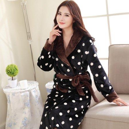 Black Dalmatian Flannel Bathrobe Night Robe Winter Pajamas for Girls M L XL XXL