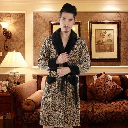 Leopard Print Retro Flannel Bathrobe Autumn Spring Winter Pajamas for Men Boys S M L XL XXL XXXL