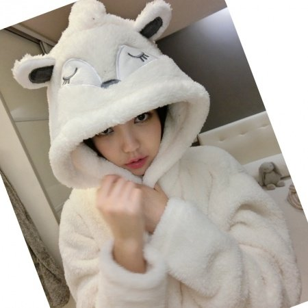 Beige Fox Pattern Bathrobe Robe Cute Spa Hooded Flannel Pajamas for Girls M L