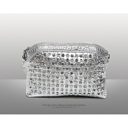 Metallic Silver Patent Leather Women Evening Party Clutch Wristlet Gorgeous Western Bling Rhinestone Rivet Studded Crossbody Shoulder Bag