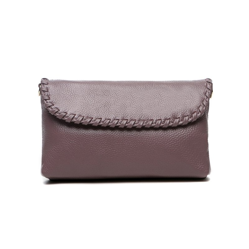 Gorgeous Durable Plain Purple Genuine Cowhide Leather with Fashion Braided Design Feminine Women Casual Party Flap Crossbody Shoulder Bag