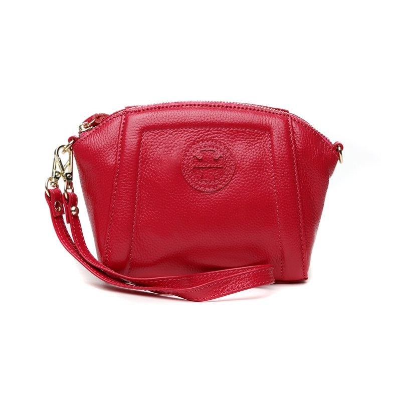 Durable Rose Red Genuine Cowhide Leather Lady Evening Party Clutch Wristlet Stylish Sewing Pattern Small Shell Crossbody Shoulder Bag