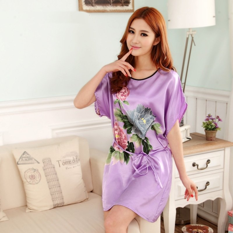 Purple Peony Flower Sexy Elegant One Piece Free Size Girls Pajamas