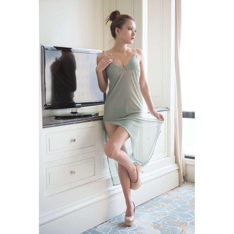 Light Green Double Split Long Dress Valentine Nightgowns Slimming Sexy Transparent Pajamas M L