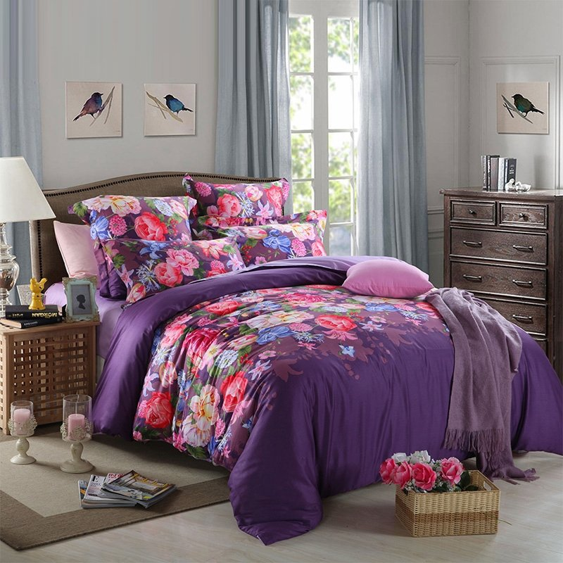 Eggplant Purple Rose Red and Green Elegant Girls Floral Print Oriental Style 100% Egyptian Cotton Full, Queen Size Bedding Sets