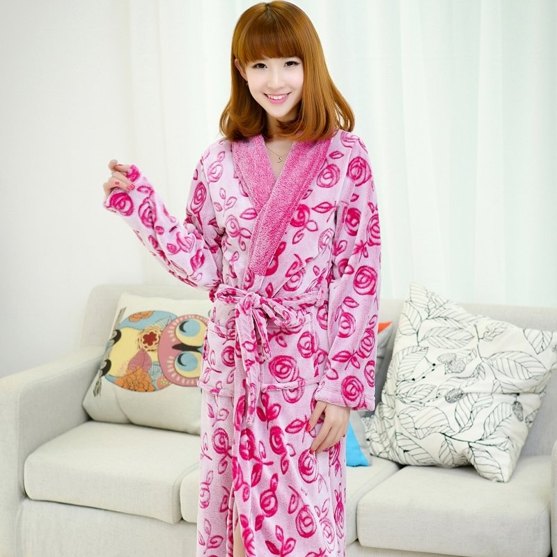 Purple Red Flannel Flower Waist Tie Pocket Bathrobe Wrap Robe Thicken Winter Pajamas for Girls M L