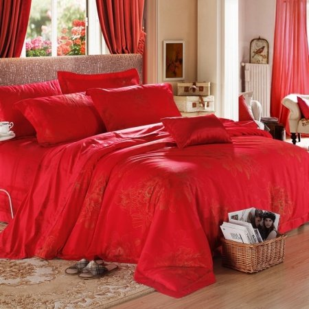 Red and Gold Peony Blossom Print Upscale Noble Excellence 100% Egyptian Cotton Full, Queen Size Bedding Sets