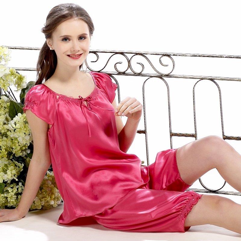 Light Plum 100% Pure Silk Petal Ruffled Sweet Silky Summer Short Shirt and Lantern Cuff Pants Pajamas for Feminine M L XL