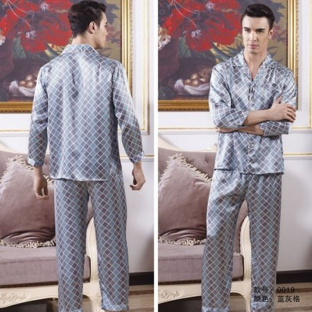 Blue Grey Plaid Checkered 100% Mulberry Silk 2 Pieces Luxury Pajamas for Masculine L XL XXL