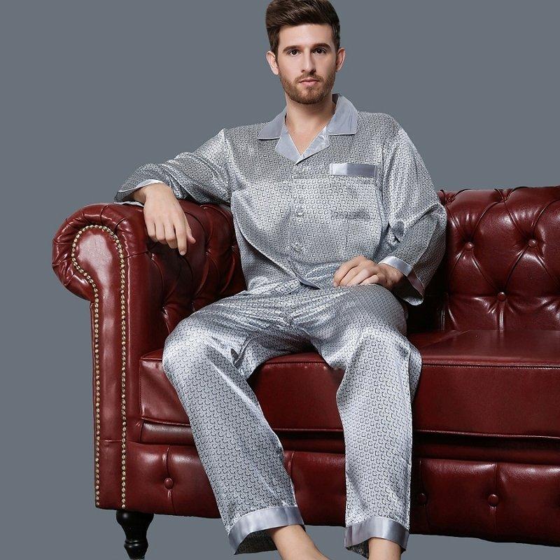 Grey Geometric Print 100% Nature Silk 2 Pieces Long Luxury Pajama Set for Men Boys L XL XXL