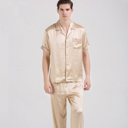 Plain Gold 100% Pure Silk Short Sleeve Shirt and Long Pants 2pc Luxury Noble Pajama Set for Men L XL XXL