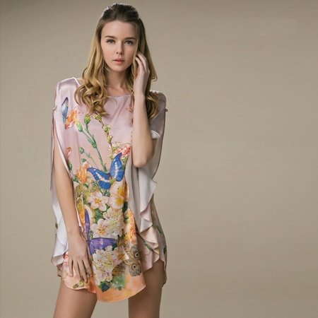 100% Real Silk Flower Butterfly Print Open Batwing Sleeve Midi Nightdress Free Size Pajamas for Women