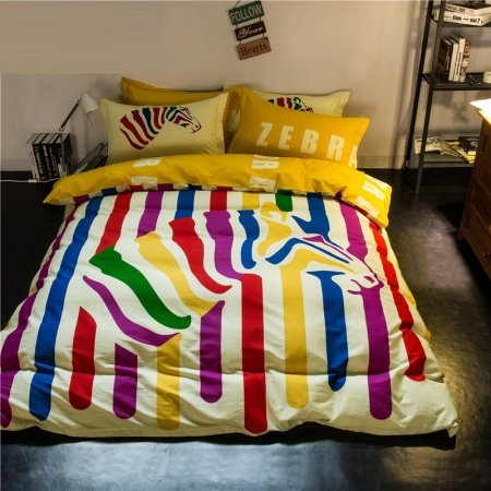 Purple Blue and Yellow White Bright Colorful Zebra and Stripe Print Hipster Style Personalized 100% Cotton Full Size Bedding Sets