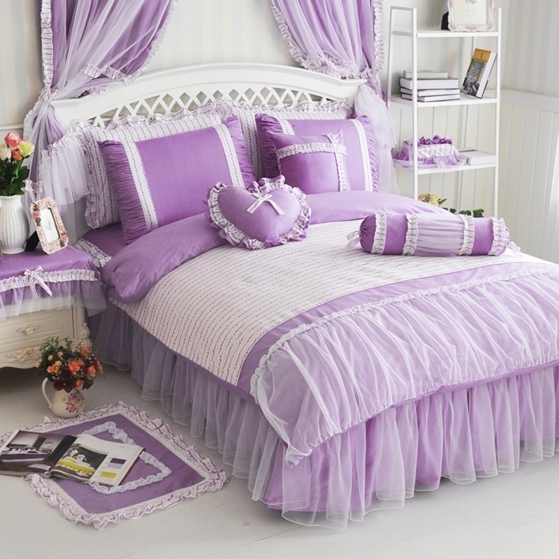 Elegant Girls Orchid Purple and White Feminine Feel Modern Chic Romantic Gathered Lace Twin, Full, Queen Size Bedding Sets