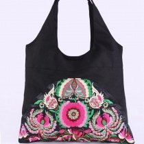 Bohemian Style Colorful Canvas Lady Casual Tote Personalized Rosette Pattern Vintage Embroidered Ethnic Crescent Hobo Shoulder Bag