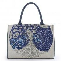Upscale Personalized Navy Blue and Beige Jute Vintage Floral and Peacock Print Zipper Feminine Lady Casual Tote Bag
