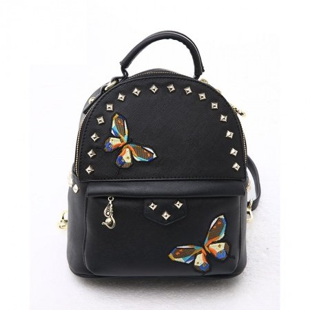 Personalized Waterproof Black Faux Leather Rivet Studded Travel Backpack Embroidered Animal Butterfly Small Crossbody Shoulder Bag