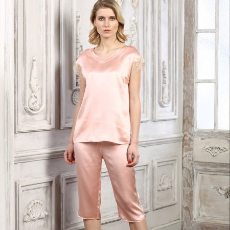 Plain Misty Rose 100% Chinese Silk Short Sleeve Shirt Cropped Trousers Luxury Pajamas for Women M L XL