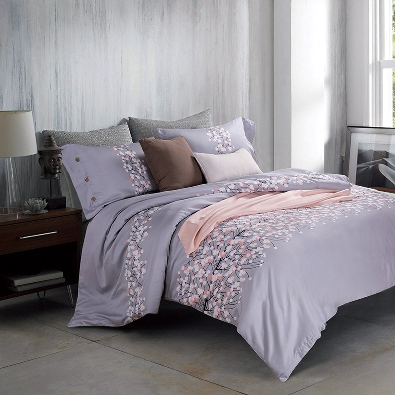Silver Gray Black and White Tree Branch Print Rustic Style Shabby Chic 100% Egyptian Cotton Full, Queen Size Bedding Sets