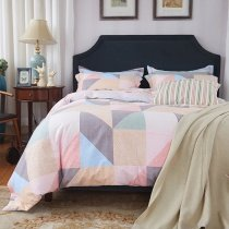 Coral Buff Beige Umber and Aqua Triangle Print Geometric Pattern Abstract Design 100% Brushed Cotton Full, Queen Size Bedding Sets